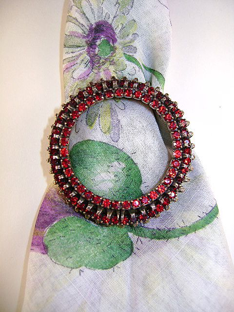 Warner Red Rhinestone Circle Brooch, Red and Classic