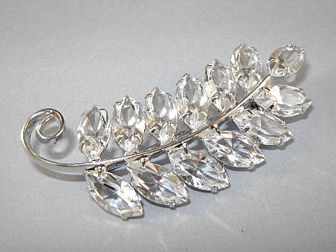 VINTAGE Glass Crystal Brooch  Ice Leaves