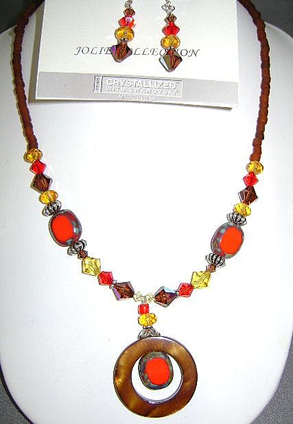 COLORFUL Necklace and Earring Set Swarovski Crystals
