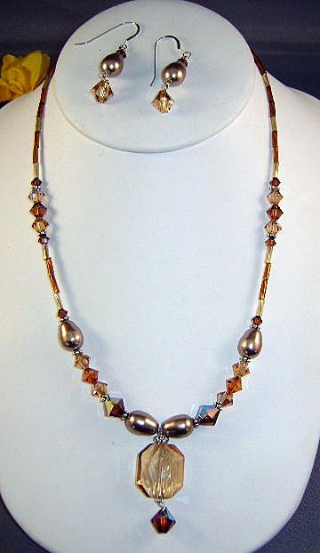 Swarovski Jewelry Necklace and Earrings Shades of Brown and Crystal
