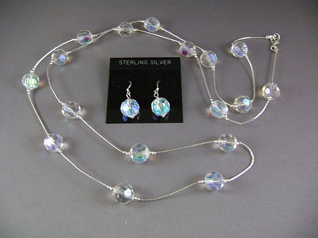 AURORA BOREALIS Faceted  Beads 40 inch Necklace and Earrings