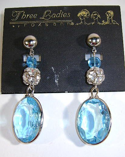 Old But Never Worn Three Ladies Dangle Earrings  Aquamarine Color
