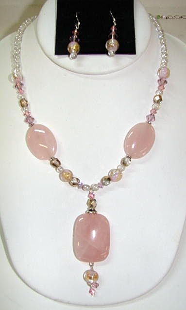 Sterling Natural Rose Quartz Necklace and Earring with Swarovski Crystals