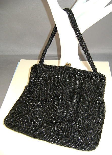 VINTAGE Simple Black Beaded Bag Josef Made in Belgium