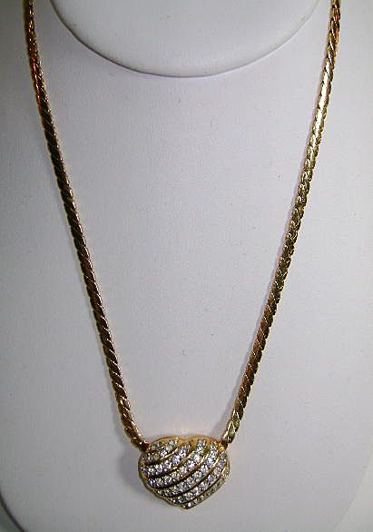 CLASSIC Swarovski 15 inch Chain and Heart --Style 80's