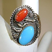 VINTAGE Indian Made Two Stone Settings Ring Size 8 1/4