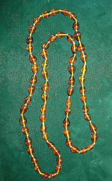 VINTAGE TEARDROP Amber Continuous Necklace  34 inches