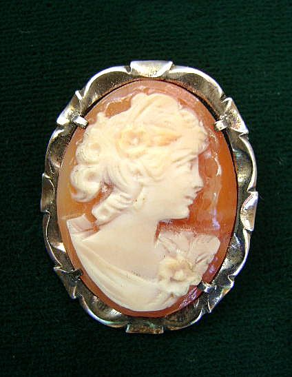 Sterling Hand-Carved Shell  Beautiful Girl Cameo From the 50's