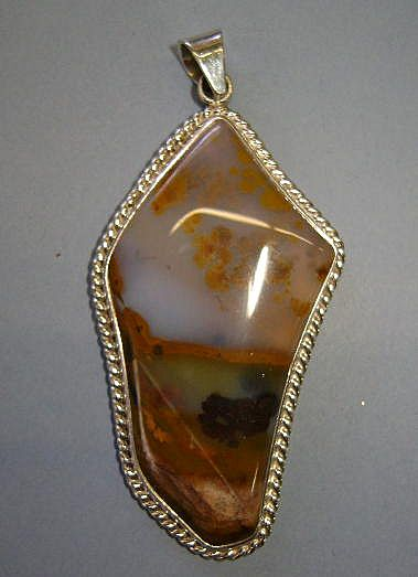 Large Sterling Sky-Line and Dendritic Agate Pendant