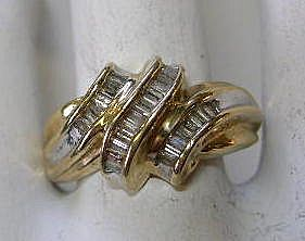 VINTAGE Gold and Diamond Ring 10K and Size 4 3/4