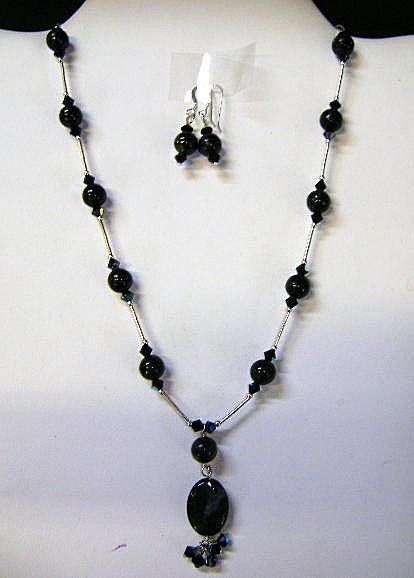 Black Marble  beads with Sterling  Necklace and Earrings