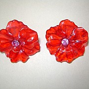 VINTAGE Cellulose acetate Colorful Clip Earrings From the 40's