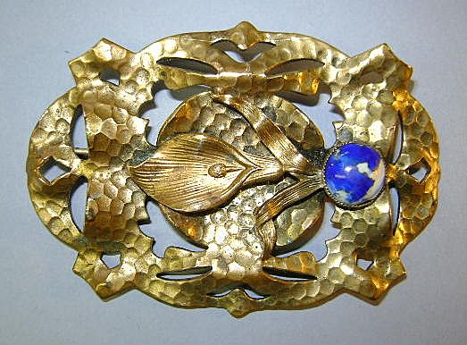 Vintage Brass-colored Hammered Brooch Very Old