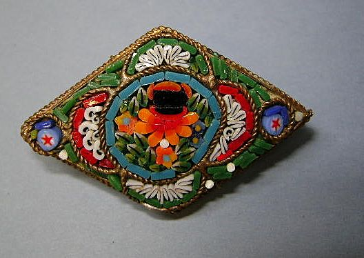 VINTAGE Mosaic Small Lapel Brooch Made in Italy Colorful