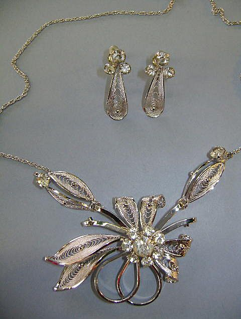 """VINTAGE Original Box """"Curtis Creations"""" Sterling Handmade Necklace and Earrings"""