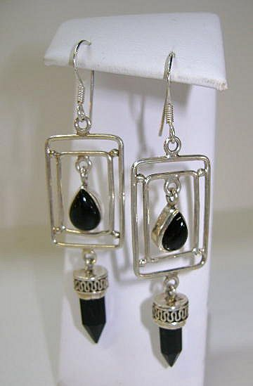 STERLING Long Beautiful  Earrings Dangle Onyx  SMASHING