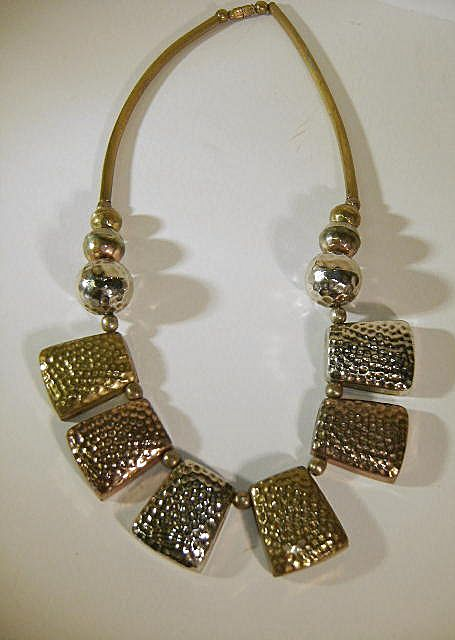 VINTAGE Brass and Copper and Metal Necklace Bo-Ho