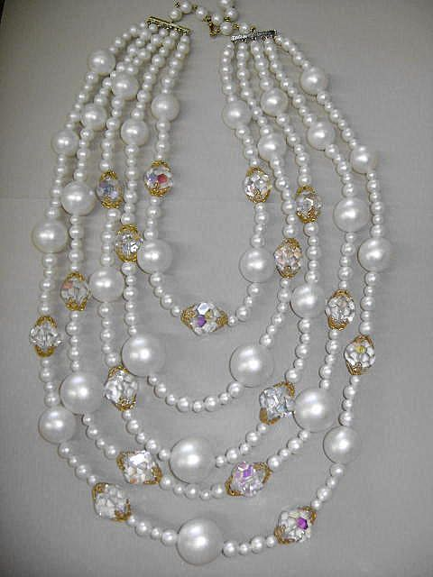 VINTAGE Laguna Pearl Beaded 5 Strand Necklace  Big, Bold, and Beautiful