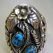 VINTAGE Sterling Indian Made Man's Ring  Size  101/4