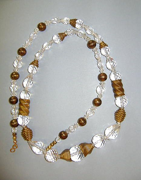 VINTAGE Dazzling Faceted Glass Beads with Brass Inserts  27 inches