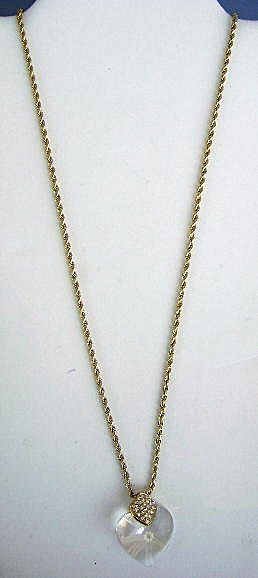 VINTAGE Swarovski Crystal Heart  with 31 inch Chain  Stunning