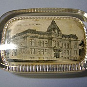 VINTAGE Flint ,Michigan  City Hall Glass Paper Weight