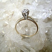 VINTAGE 40'S  14K Engagement Ring .15 C  Diamond Charming   Size 5 3/4