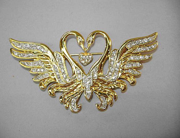 VINTAGE Nolan Miller Classic 'Kissing Swans' Brooch