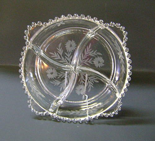 VINTAGE Imperial Candlewick Handled Relish Plate 9 1/2 inches