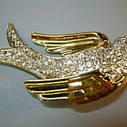 Nolan Miller Crystal Dove Brooch
