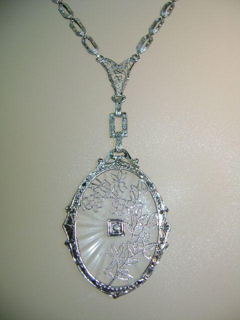 Vintage 14k White Gold Filigree Camphor Glass And Diamond