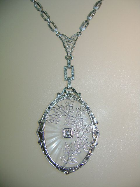 VINTAGE 14K White Gold Filigree Camphor Glass and Diamond Pendant