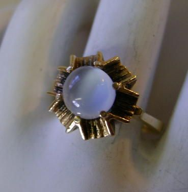 VINTAGE Cat-Eye Moonstone Ring 10K YG  Size 6