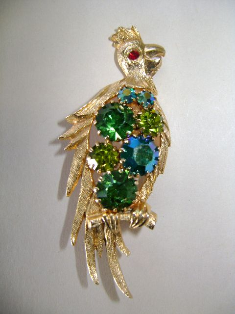 Lovely Polly with a Green Vest Bird Brooch