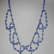 "VINTAGE Blue Beaded Necklace ""Sweet Sixteen"""