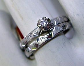 70'S 14K White Gold Wedding Set Nice diamond Size 6 1/2