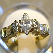 VINTAGE 70'S  Marquise Cut Diamond Ring  Size 4 3/4  Over 1 Carat Total Weight