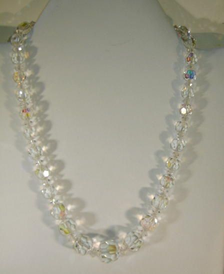 VINTAGE  50's  Short Crystal Aurora Borelis Necklace 16 1/2 inches