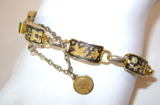 VINTAGE Damascene Link Bracelet with Safety Chain