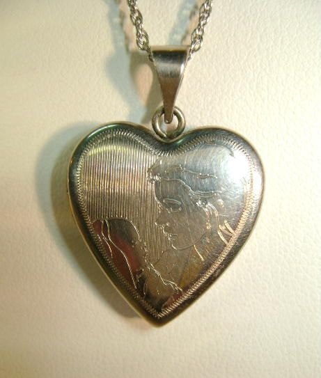 STERLING Mother and Child Locket  in Original Box 70's