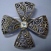 VINTAGE  Sterling Marcasite Bow Brooch Signed