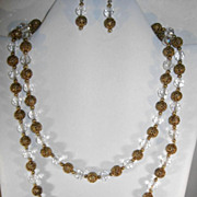 VINTAGE Aurora Borelis Beads with Brass Beads Long 36 inches and Earrings