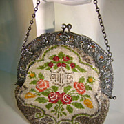 ANTIQUE Pre 1900's Beaded Purse with Silver Handle
