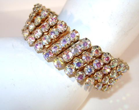 VINTAGE Bright  Aurora Borelis Rhinestone Expansion Bracelet