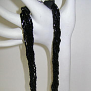 VINTAGE Black Bead Necklace and Earrings 60'S