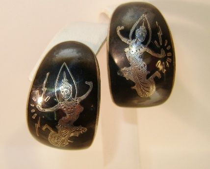 VINTAGE Nellio Siamese Dancers Earrings Sterling -Topless
