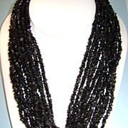 VINTAGE 12 Strand Black Necklace  Twist or wear Loose 18 inch