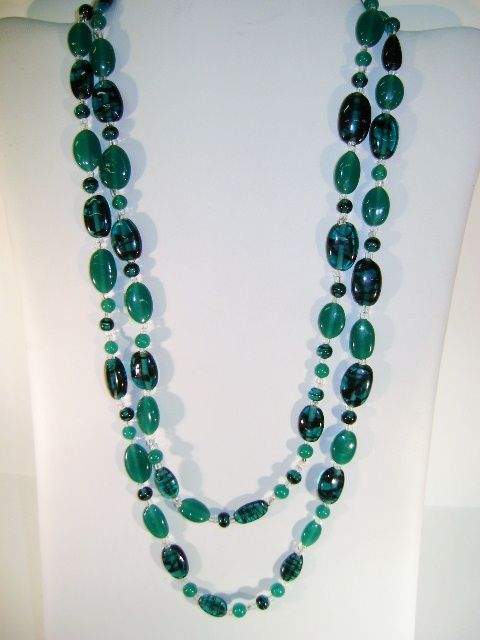 VINTAGE Beautiful Green Old Glass Beads   44 Inches long Professionally Restrung