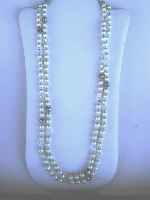 VINTAGE Judy Lee 60 inch Rope of Pearl beads, Glass beads, and Rhinestone Beads