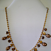 VINTAGE Rhinestone Necklace With Brown-gold Pearl Beads